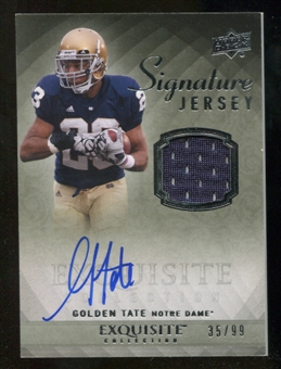 2010 Upper Deck Exquisite Collection Signature Jersey #ESJGT Golden Tate Autograph /99