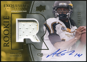 2010 Upper Deck Exquisite Collection #113 Armanti Edwards RC Patch Autograph 46/120