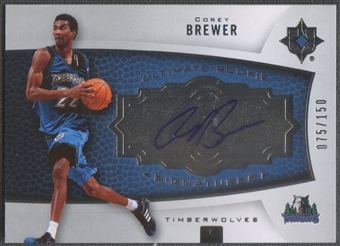 2007/08 Ultimate Collection #104 Corey Brewer Rookie Auto #075/150