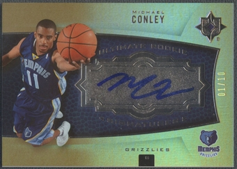 2007/08 Ultimate Collection #108 Mike Conley Jr. Foil Rookie Auto #01/10