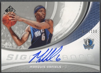2005/06 SP Game Used #MD Marquis Daniels SIGnificance Auto #072/100