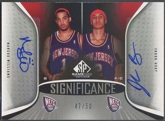 2006/07 SP Game Used #WB Marcus Williams & Josh Boone SIGnificance Dual Auto #47/50