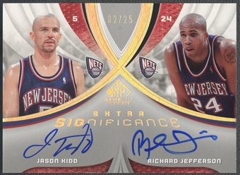 2005/06 SP Game Used #KJ Jason Kidd & Richard Jefferson SIGnificance Dual Auto #02/25