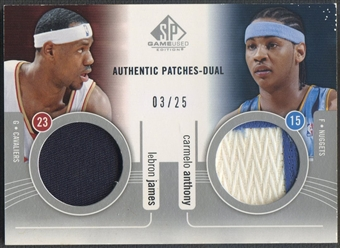 2004/05 SP Game Used #JA LeBron James & Carmelo Anthony Authentic Dual Patch #03/25