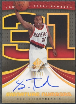 2005/06 SP Game Used #ST Sebastian Telfair Signature Numbers Auto #11/31
