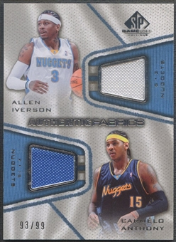 2007/08 SP Game Used #AI Allen Iverson & Carmelo Anthony Authentic Fabrics Dual Jersey /99