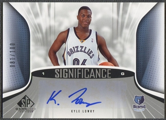 2006/07 SP Game Used #KL Kyle Lowry SIGnificance Rookie Auto #081/100