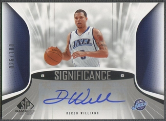 2006/07 SP Game Used #DW Deron Williams SIGnificance Auto /100