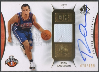 2008/09 SP Authentic #103 Ryan Anderson Rookie Patch Auto #470/499