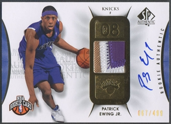 2008/09 SP Authentic #112 Patrick Ewing Jr. Rookie Patch Auto #067/499