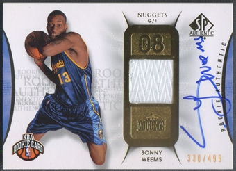 2008/09 SP Authentic #138 Sonny Weems Rookie Patch Auto #338/499