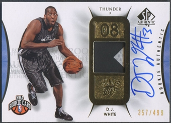 2008/09 SP Authentic #140 D.J. White Rookie Patch Auto #357/499