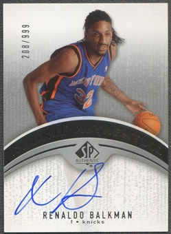 2006/07 SP Authentic #110 Renaldo Balkman Rookie Auto #208/999