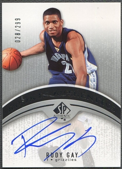 2006/07 SP Authentic #129 Rudy Gay Rookie Auto #028/299