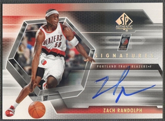 2004/05 SP Authentic #ZR Zach Randolph Signatures Auto