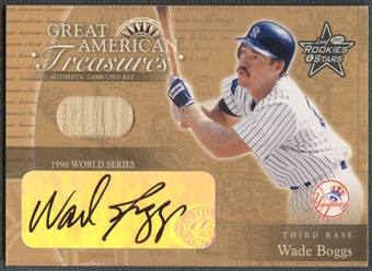 2001 Leaf Rookies and Stars #GT18 Wade Boggs Great American Treasures WS Bat Auto
