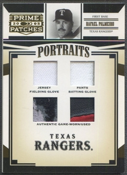 2005 Prime Patches #80 Rafael Palmeiro Portraits Quad Swatch Glove Jersey Pants #051/100