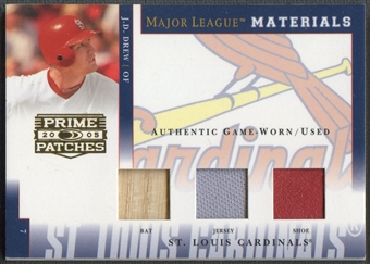 2005 Prime Patches #50 J.D. Drew Major League Materials Triple Swatch Bat Jersey Shoe #059/150