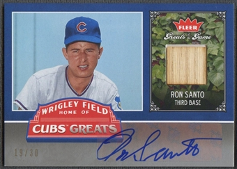 2006 Greats of the Game #RS Ron Santo Cubs Greats Bat Auto #19/30