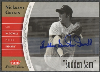 """2006 Greats of the Game #SM Sam McDowell Nickname Greats Auto """"Sudden Sam"""""""