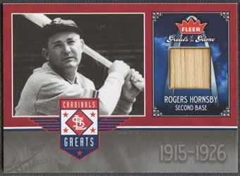 2006 Greats of the Game #RH Rogers Hornsby Cardinals Greats Memorabilia Bat