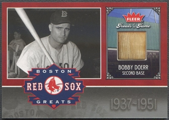 2006 Greats of the Game #BD Bobby Doerr Red Sox Greats Memorabilia Bat