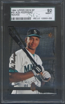 1994 SP #15 Alex Rodriguez FOIL Rookie SGC 92