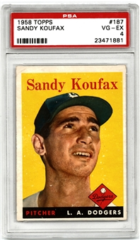 1958 Topps Baseball #187 Sandy Koufax Graded PSA 4 (VG-EX) *1881*