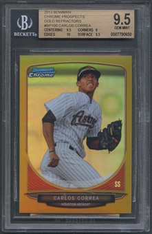 2013 Bowman Chrome Prospects #BCP100 Carlos Correa Rookie Gold Refractor #30/50 BGS 9.5