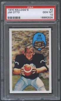 1970 Kellogg's Football #2 Jim Otto PSA 10 (GEM MT) *0535