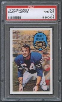 1970 Kellogg's Football #26 Harry Jacobs PSA 10 (GEM MT) *0602