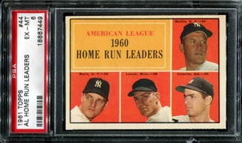 1961 Topps Baseball #44 AL Home Run Leaders PSA 6 (EX-MT) *7449