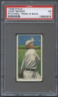 1909-11 T206 Cycle Chief Bender (Pitching, Trees In Back) PSA 1 (PR) *2876
