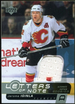 2002/03 Upper Deck Letters of Note Jerseys #LNJI Jarome Iginla