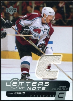 2002/03 Upper Deck Letters of Note Jerseys #LNJS Joe Sakic