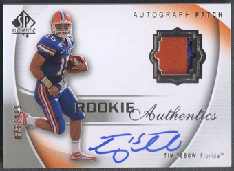 2010 SP Authentic #108 Tim Tebow Rookie Patch Auto #075/299