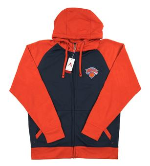 New York Knicks Antigua Navy Strategy Performance Full Zip Fleece Hoodie (Adult Large)