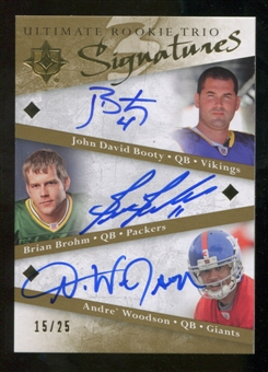 2008 Upper Deck Ultimate Collection Ultimate Rookie Autographs Trios #6 John David Booty/Brian Brohm/Andre Woo