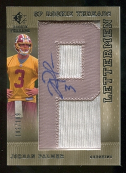 2007 Upper Deck SP Rookie Threads Rookie Lettermen Silver #116 Jordan Palmer Autograph /199