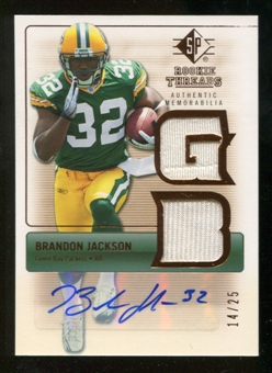 2007 Upper Deck SP Rookie Threads Rookie Threads Autographs #RTBJ Brandon Jackson Autograph /25