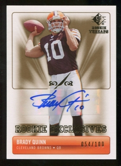 2007 Upper Deck SP Rookie Threads Rookie Exclusive Autographs #REBQ Brady Quinn Autograph /100