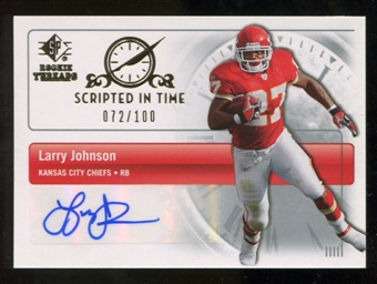 2007 Upper Deck SP Rookie Threads Scripted in Time Autographs #SITLJ Larry Johnson /100