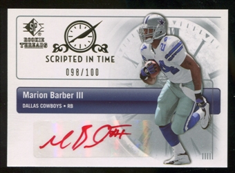 2007 Upper Deck SP Rookie Threads Scripted in Time Autographs #SITBA Marion Barber Autograph /100