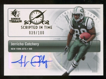 2007 Upper Deck SP Rookie Threads Scripted in Time Autographs #SITJC Jerricho Cotchery Autograph /100