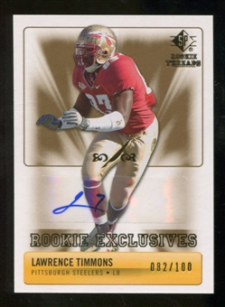 2007 Upper Deck SP Rookie Threads Rookie Exclusive Autographs #RELT Lawrence Timmons Autograph /100