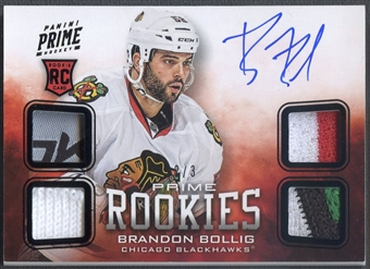 2012/13 Panini Prime #111 Brandon Bollig Black Rookie Jersey Patch Tag Auto #2/3