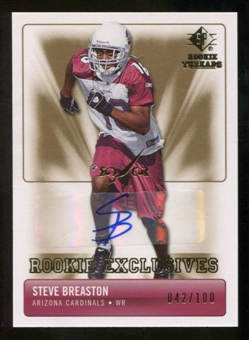 2007 Upper Deck SP Rookie Threads Rookie Exclusive Autographs #RESB Steve Breaston Autograph /100