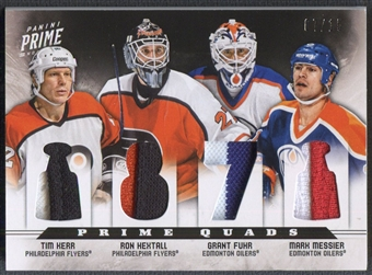 2012/13 Panini Prime #9 Tim Kerr, Ron Hextall, Mark Messier, & Grant Fuhr Quad Patch #07/15