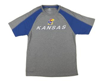 Kansas Jayhawks Colosseum Grey Flagline Performance Tee Shirt (Adult Large)