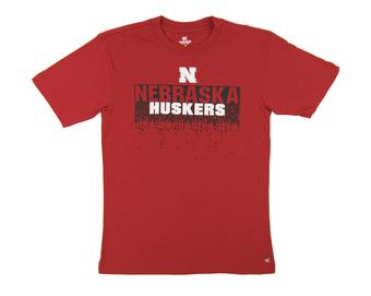 Nebraska Huskers Colosseum Red Check Point Dual Blend Tee Shirt (Adult XXL)